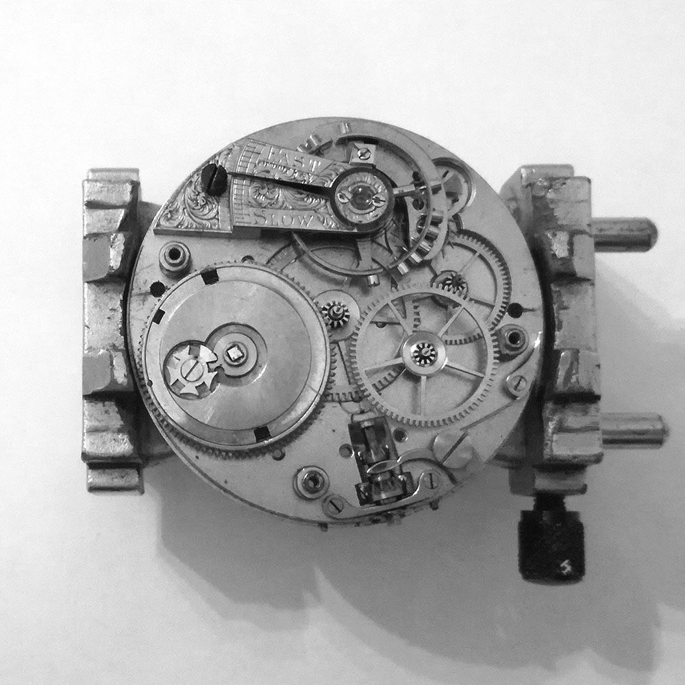 View of the motion work. The gears are rather large for this size movement, and they most probably belong to a larger caliber watch.