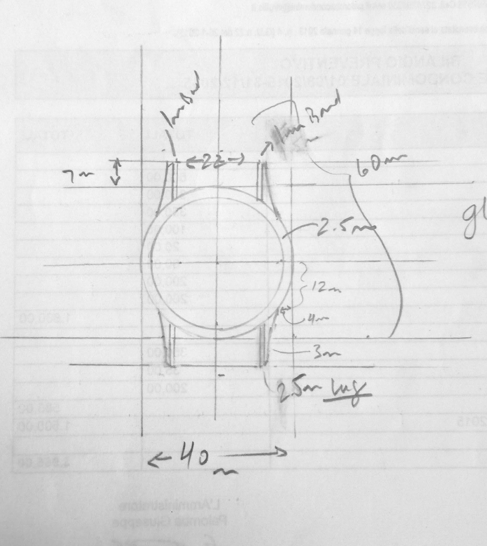 Measurements for case, lugs taking inspiration from Rolex ref. 5113.