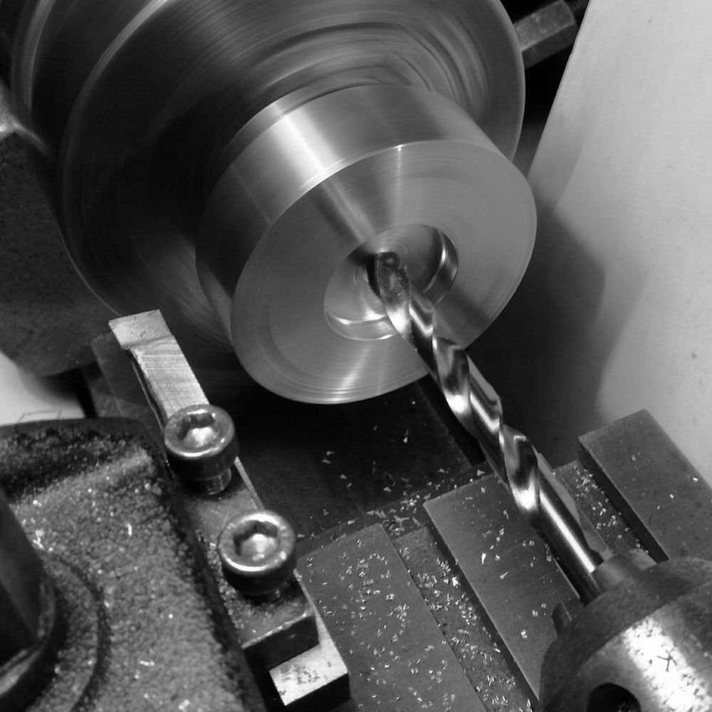 Billet reversed, ready to be through-drilled.