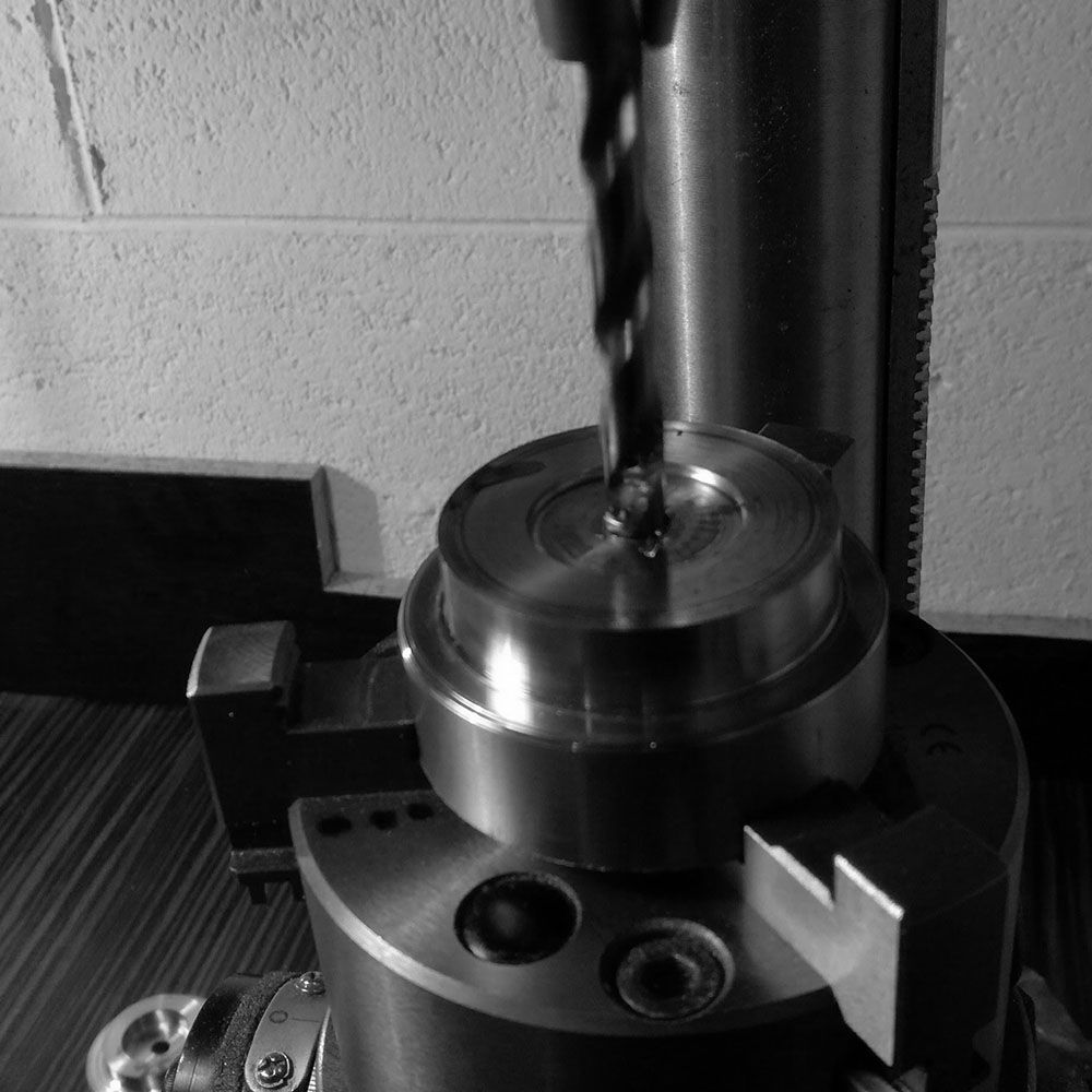 Through-drilling on a milling machine.