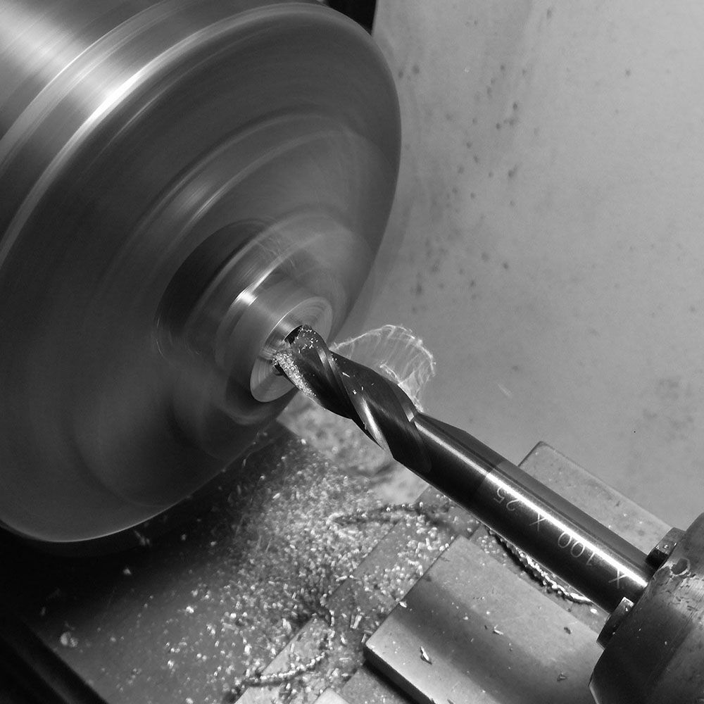 Milling out the center with a tool diameter nearly equal to that of the crown.