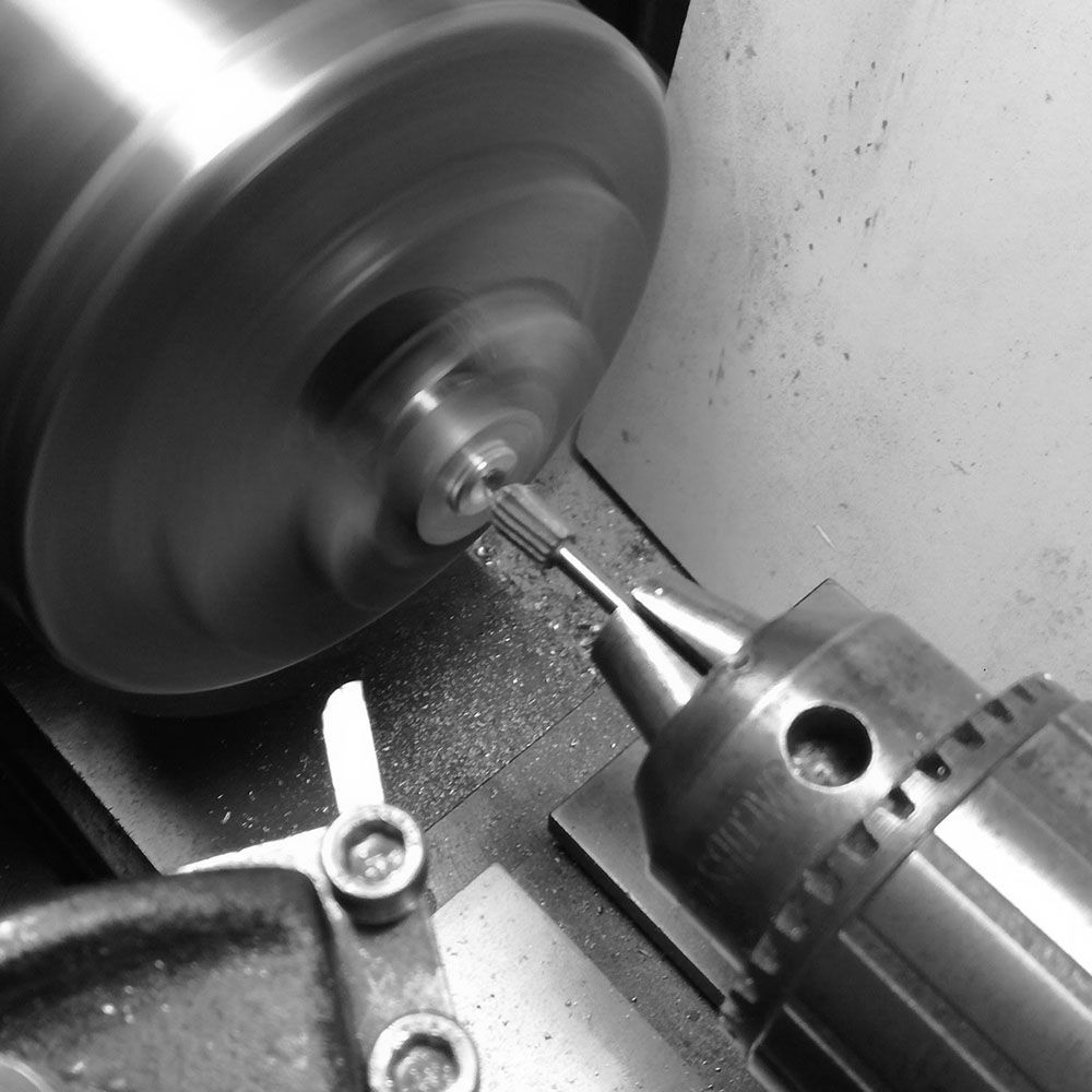 Then I use a circular headed milling bit.