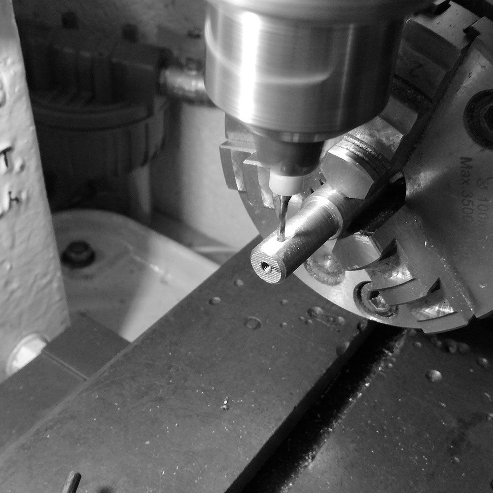 Drilling the area for the fly cutter to be inserted.