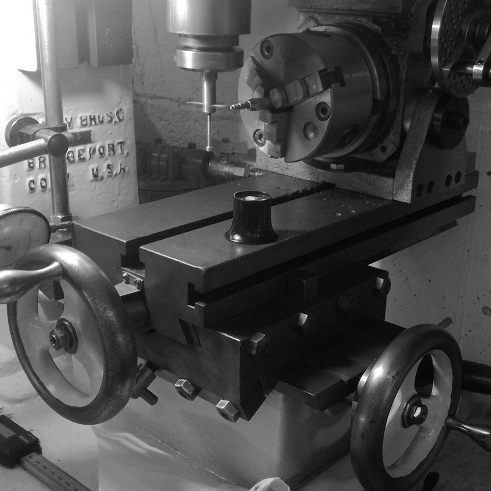 The setup with the dividing head on the Linley jig borer.