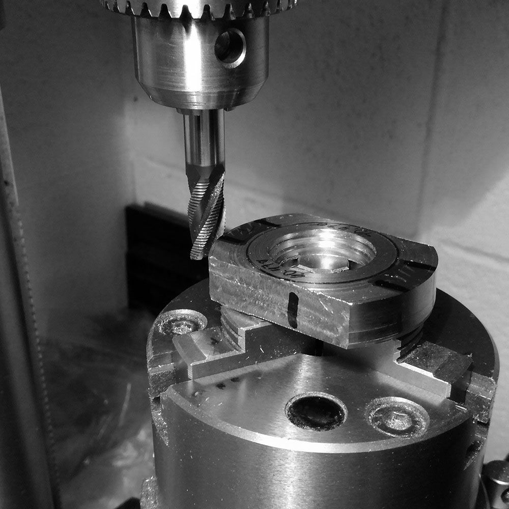 Here I commence with milling out the interior area of the lugs to get to the general coordinates of the watch case.