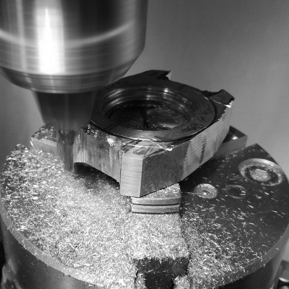 Further milling of the case lug enterior.